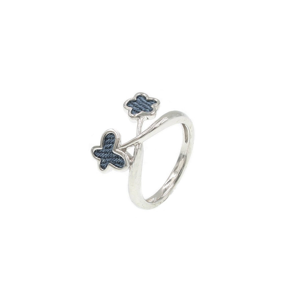 925 Silver Butterfly with Flower Ring