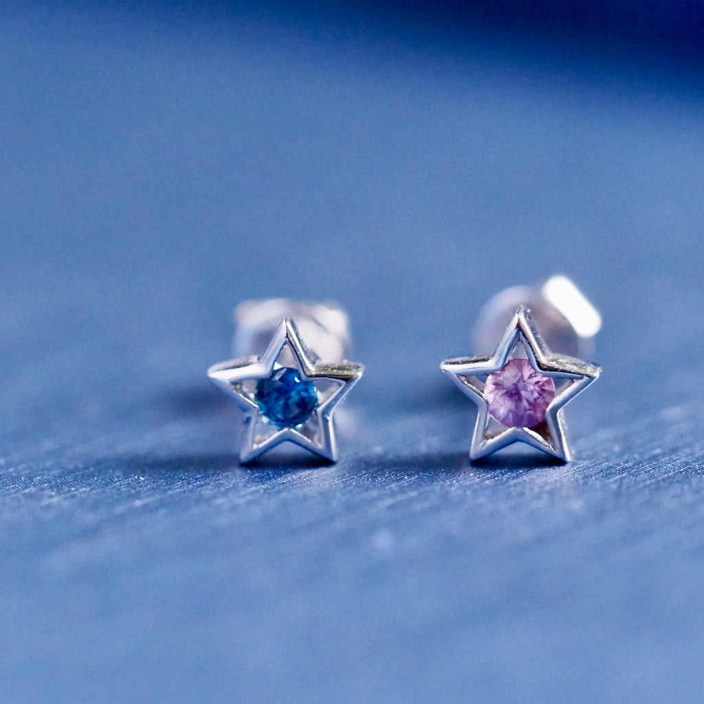 Blue and Pink Sapphire Star Earrings in 18karat White Gold