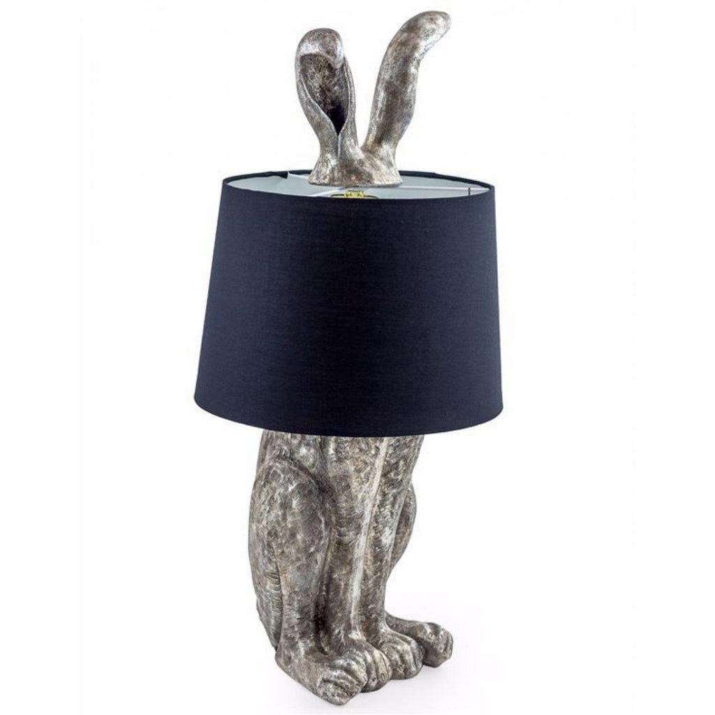 Antique Silver Rabbit Ears Table Lamp Black Shade