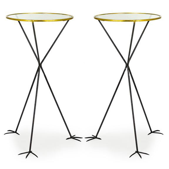 Pair of Round Glass Top Bird Leg Tables