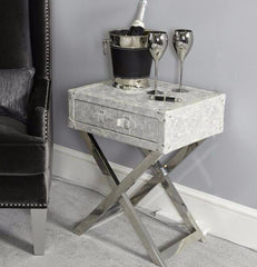 Pearlescent Silver Faux Snakeskin Side Table