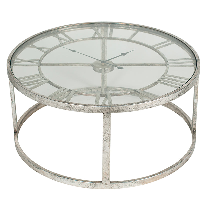 Antique Silver Round Clock Coffee Table