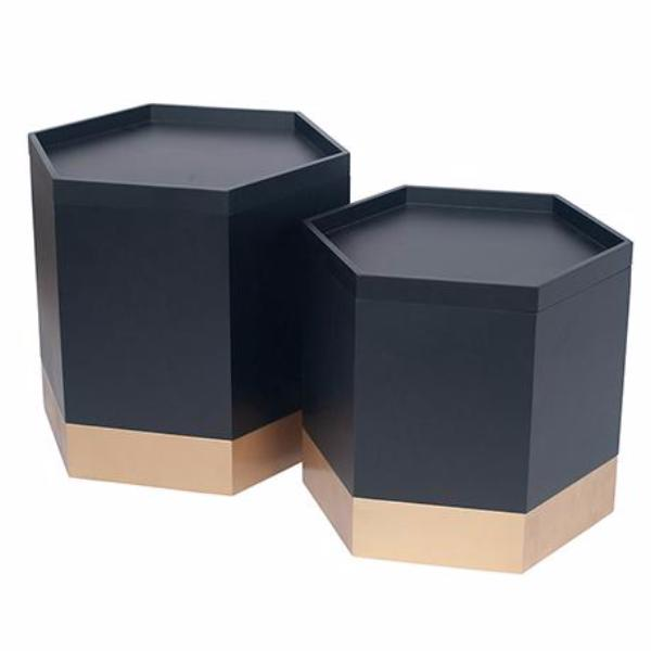Hexagon Side Table & Storage Box Set of 2