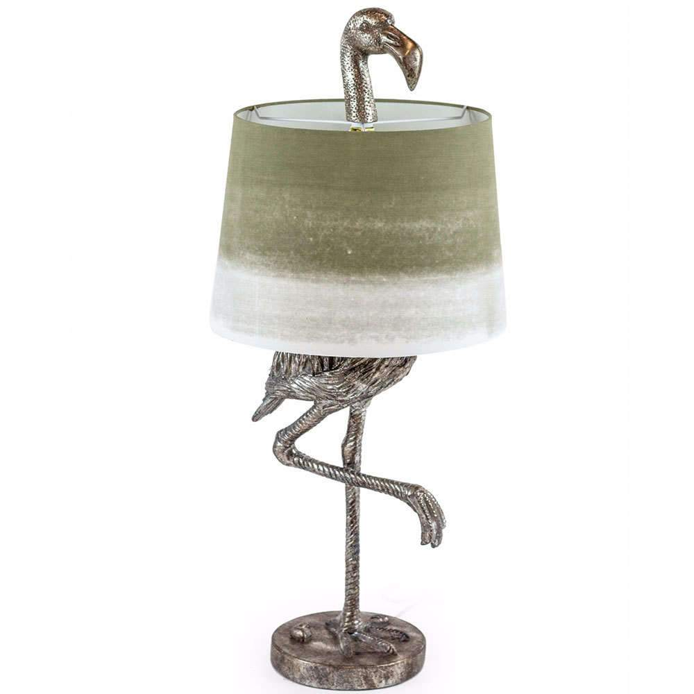 Antique Silver Flamingo Table Lamp Sage Shade