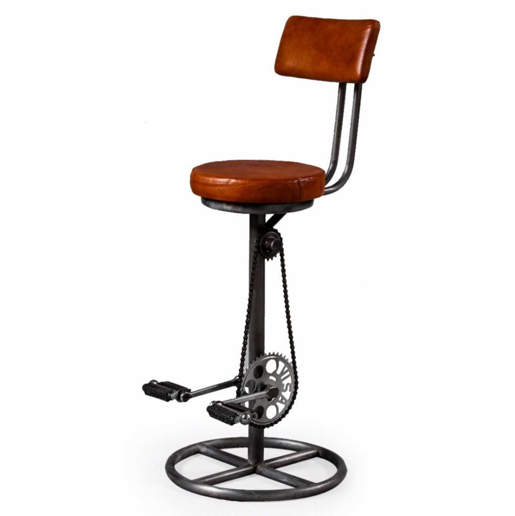Bicycle Pedal Bar Stool with Back Rest