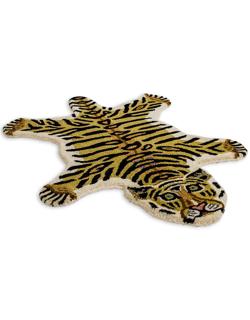 "Hand Tufted Small Tiger ""Skin"" Woollen Rug"