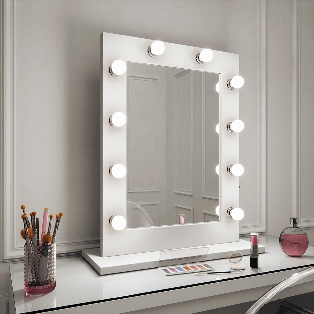 Julia Hollywood Mirror in White Gloss Portrait 80 x 60cm freestanding/wall mounted
