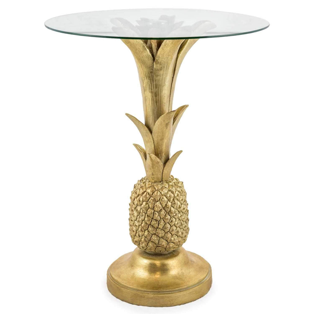 Pineapple Glass Top Side Table