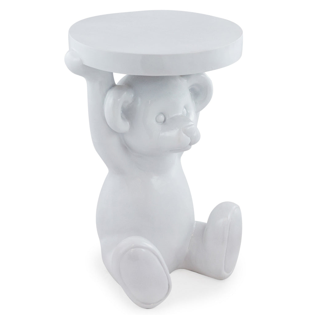 Gloss White Teddy Bear Side Table