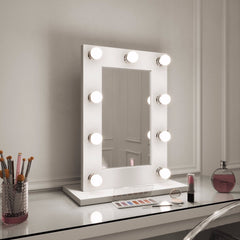 Hollywood Mirror in White Gloss Portrait 65 x 50cm