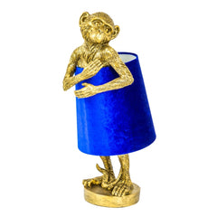 Antique Gold Bashful Monkey Table Lamp Gold & Blue Velvet Shade