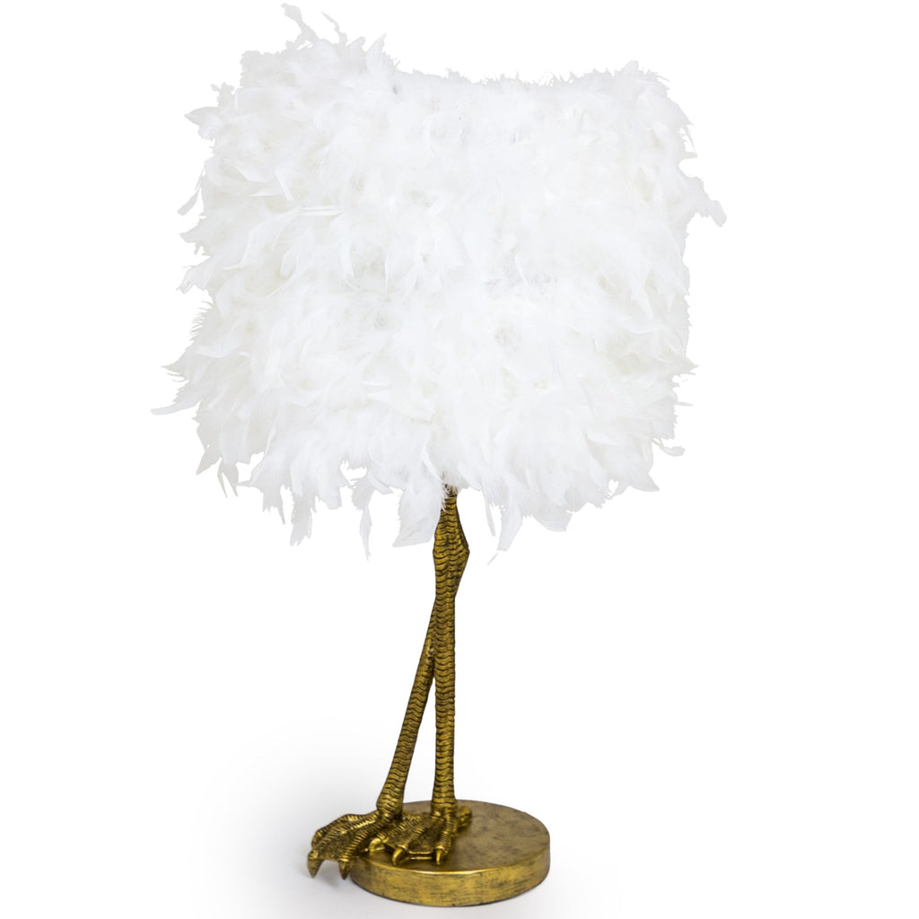 Antique Gold Large Bird Leg Table Lamp With White Feather Shade