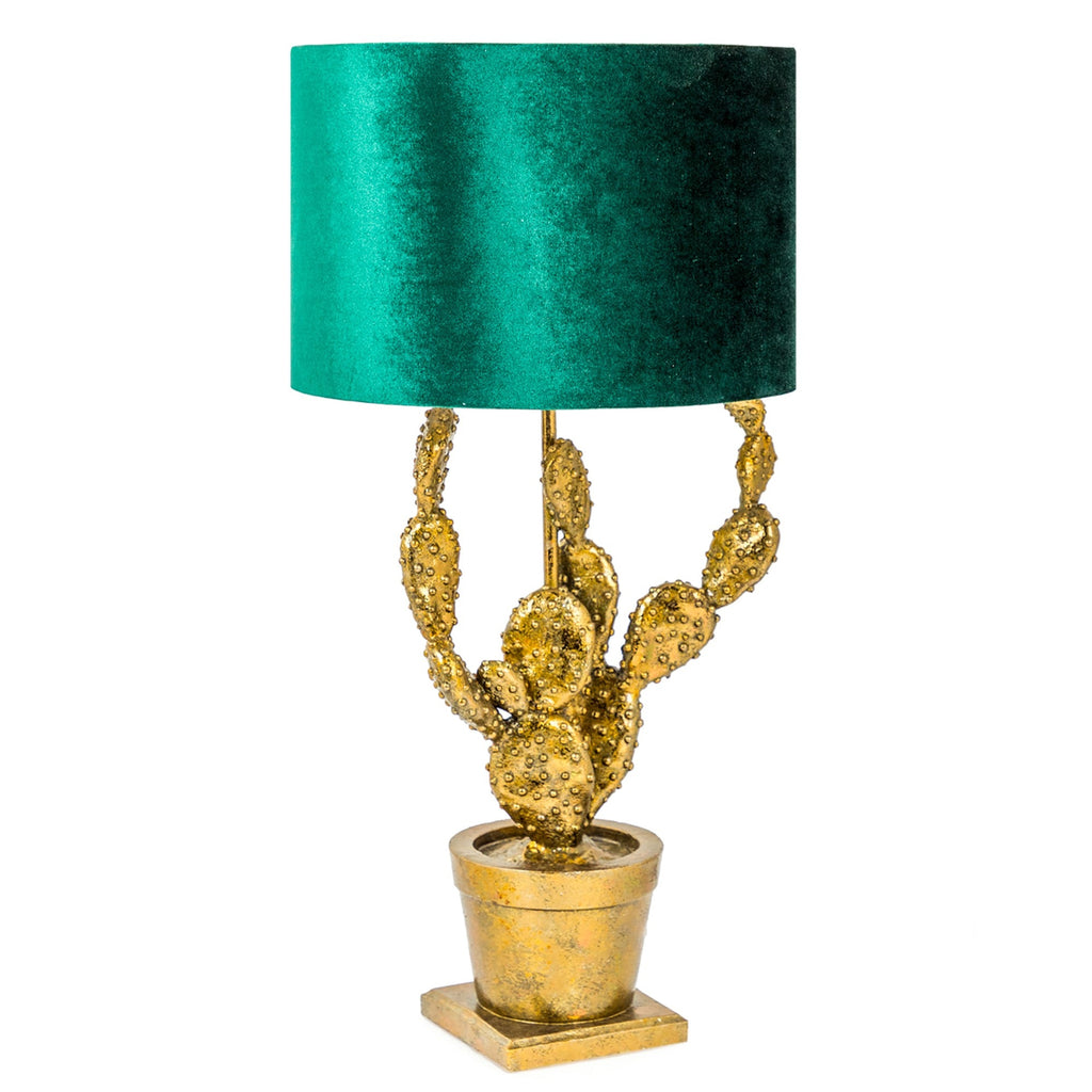 Antique Gold Potted Cactus Table Lamp with Green Velvet Shade