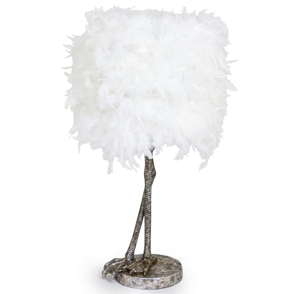 Antique Silver Large Bird Leg Table Lamp With White Feather Shade