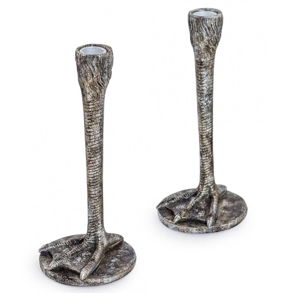 Pair of Antique Bird Leg Candlesticks