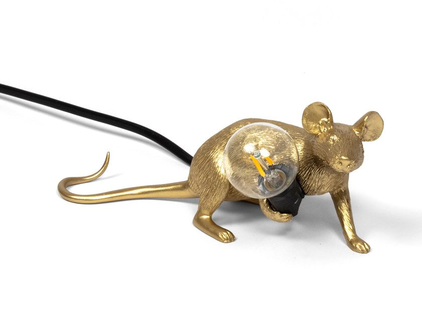 Seletti Gold Mouse Lie Down Table Lamp