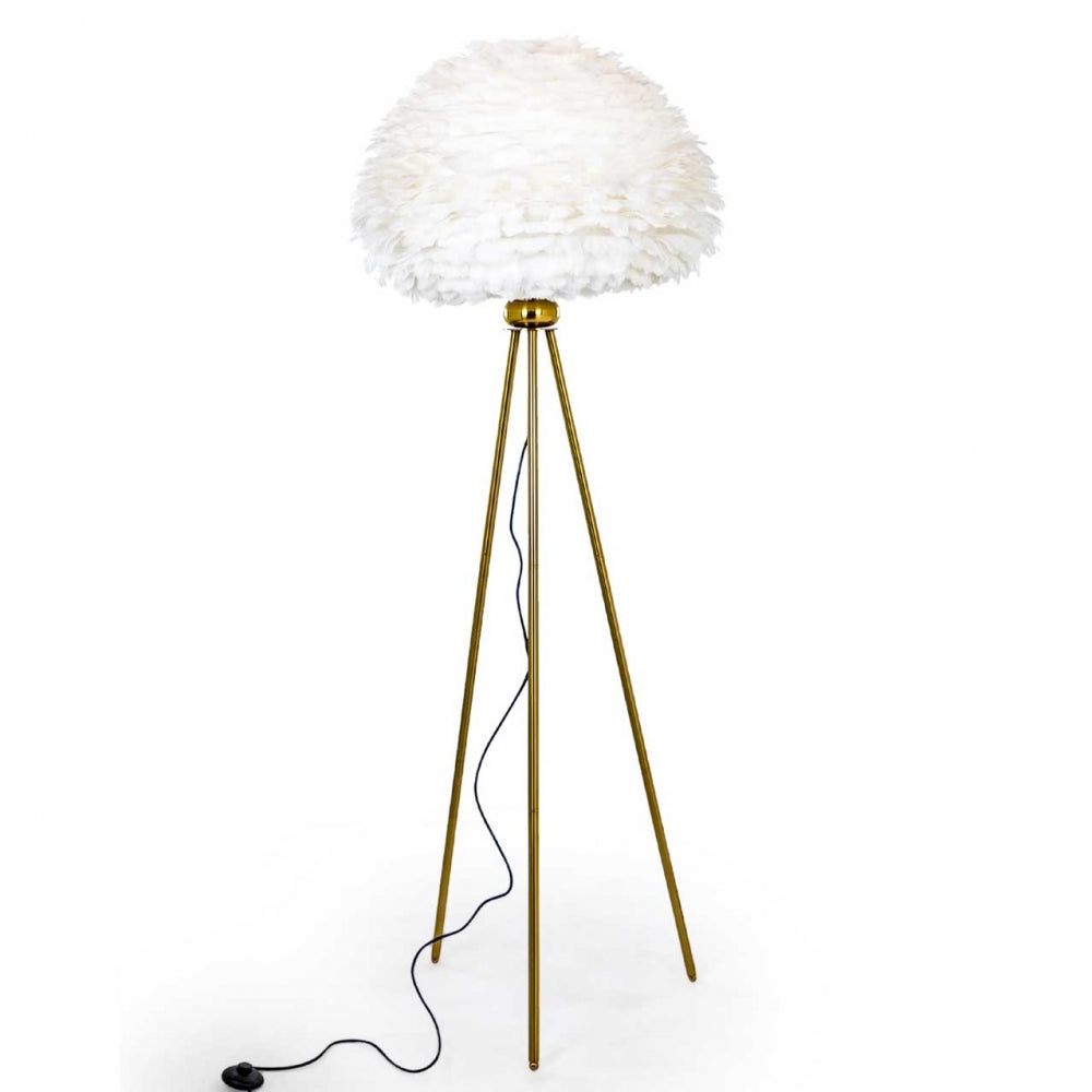 White & Brass Goose Feather Floor Lamp