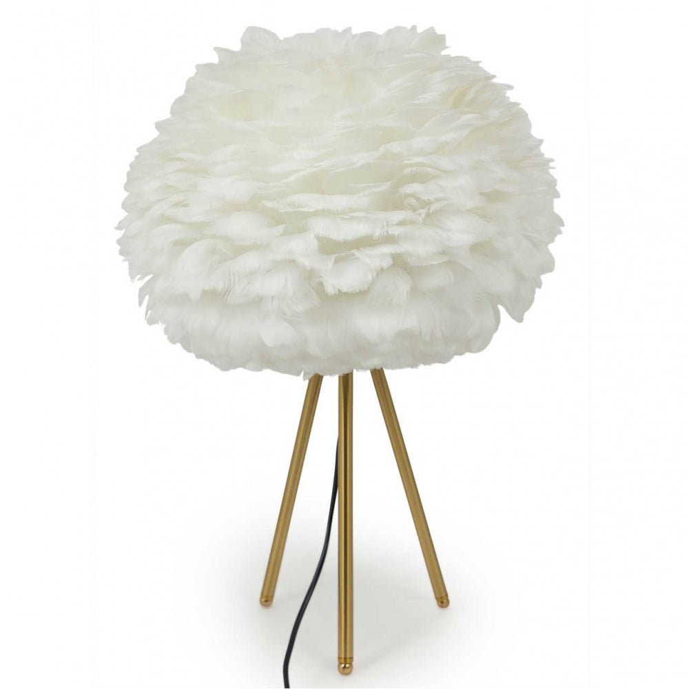 White Goose Feather Tripod Table Lamp in Brass