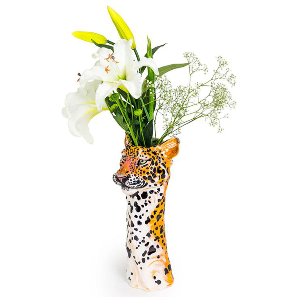 Ceramic Leopard Head Vase