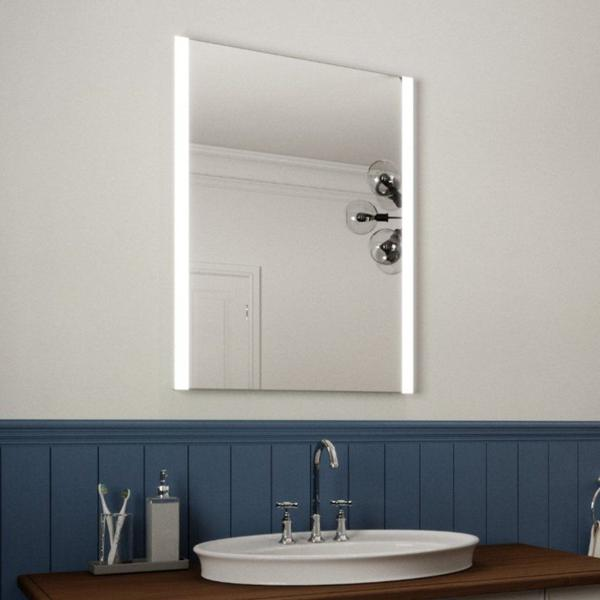 LED ILLUMINATED BATHROOM MIRROR WITH LIGHTS, DEMISTER PAD AND MOTION SENSOR 80X60CM