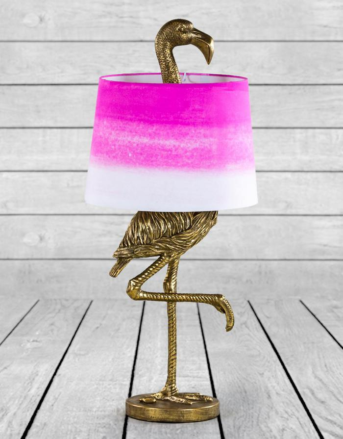 flamingo lamp antique gold and pink shade