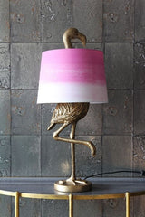 Antique Gold Flamingo Table Lamp Pink & White Shade