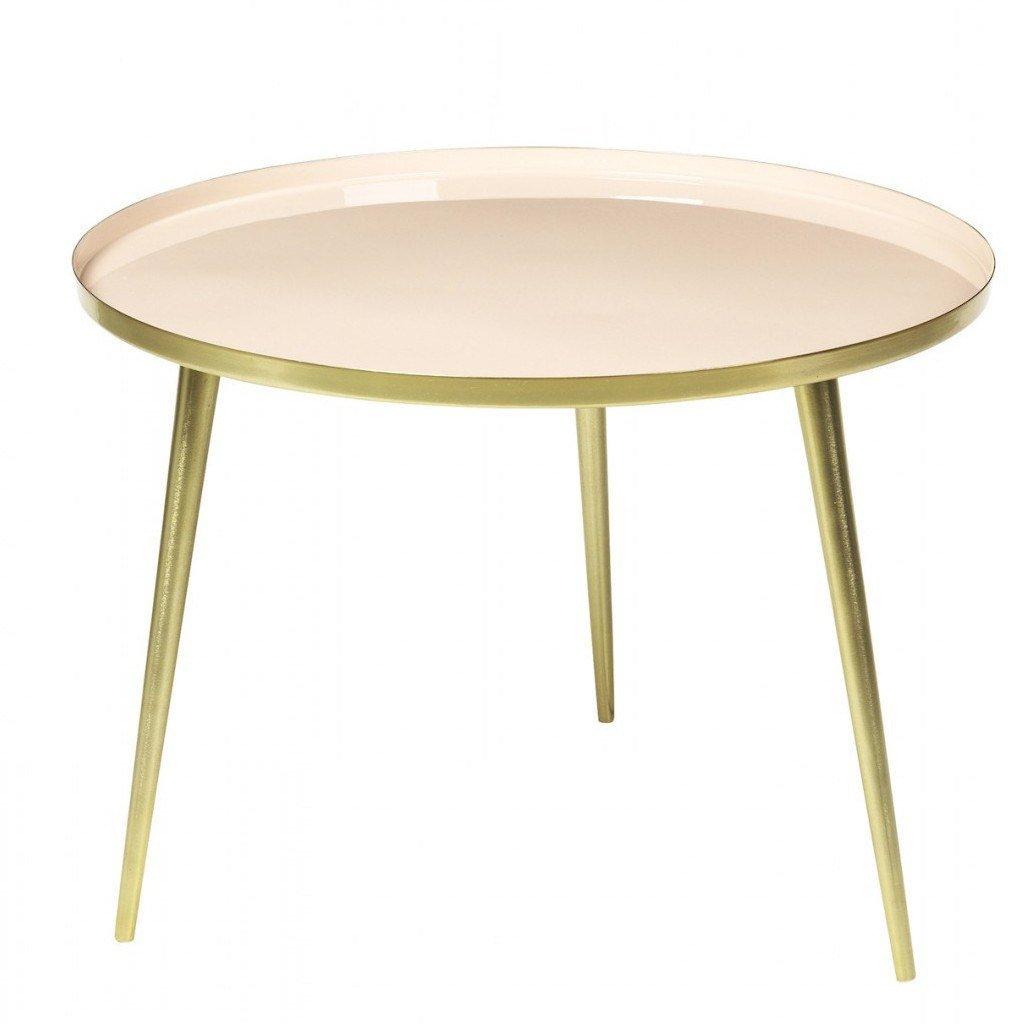 Broste Copenhagen Jelva Coffee Table  Brass Base - Linen Soft Top: www.decorelo.co.uk
