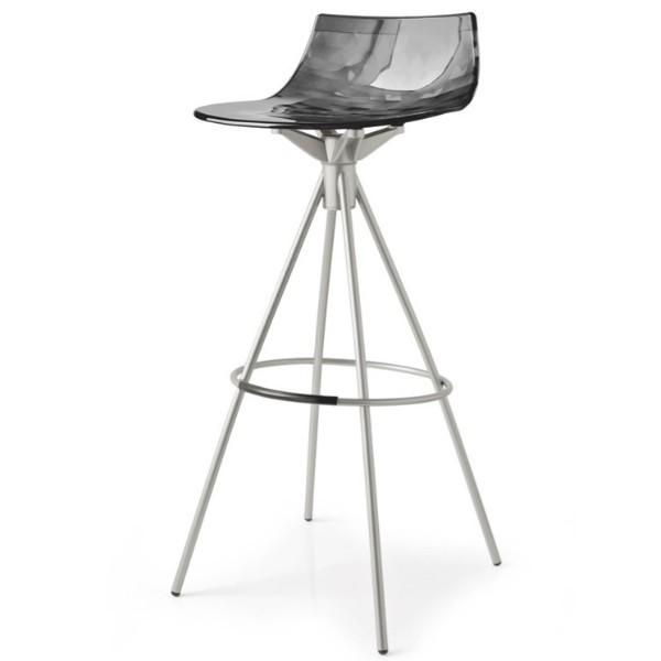 Calligaris Ice Barstool  65cm / Satin Finished Steel / Transparent Smoked Grey: www.decorelo.co.uk
