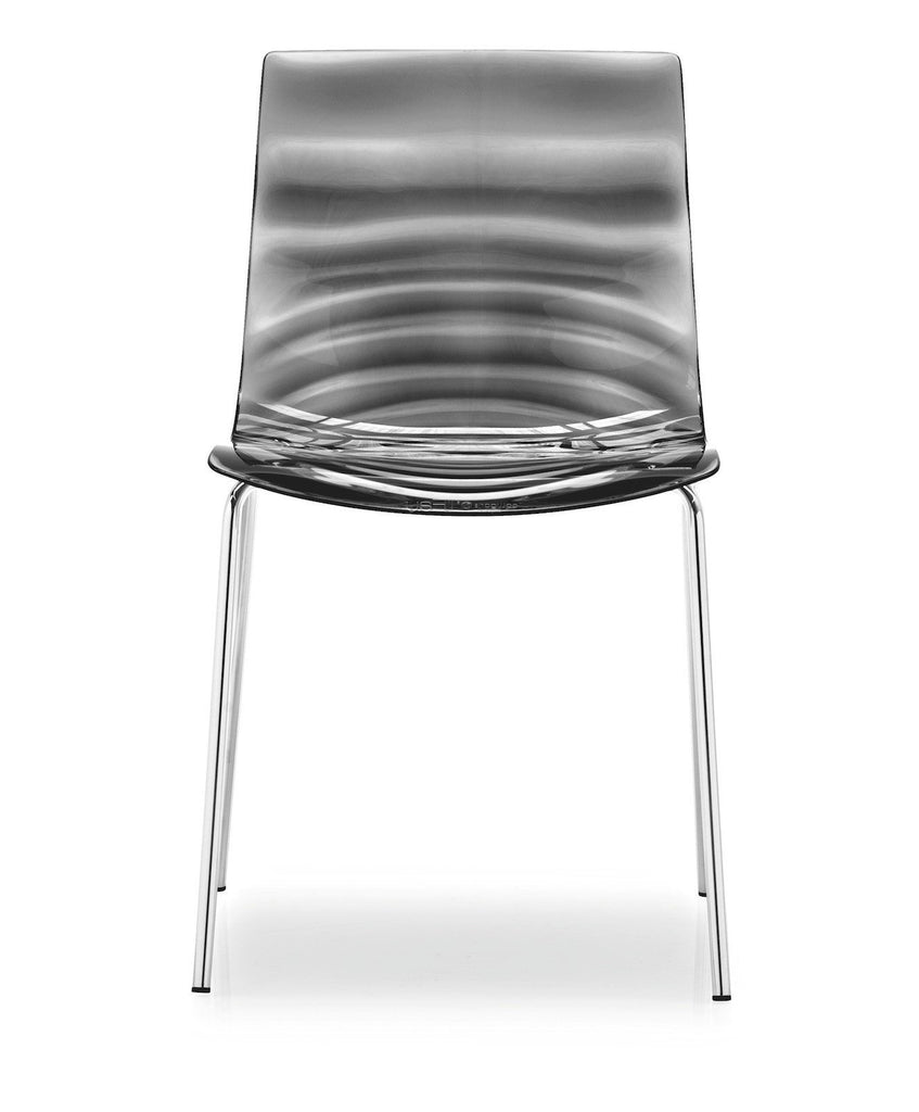 Calligaris L'eau Stackable Chair  Chrome / Smoke Grey: www.decorelo.co.uk