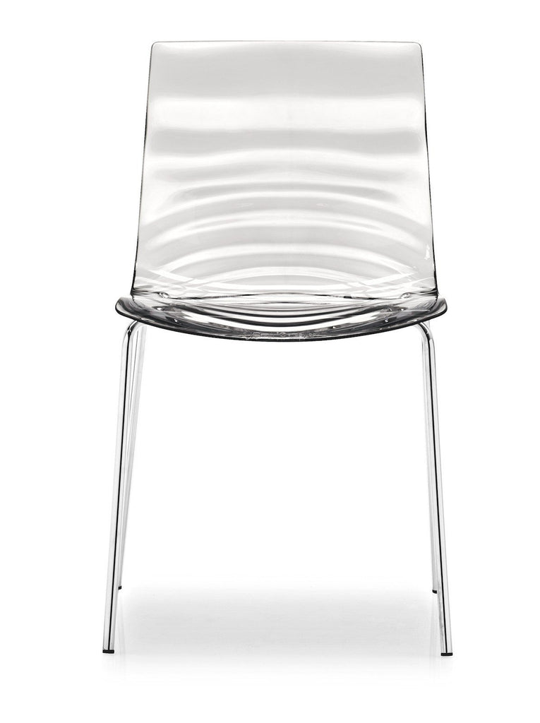 Calligaris L'eau Stackable Chair  Chrome / Transparent Clear: www.decorelo.co.uk