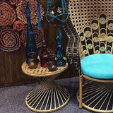 Furniture,Brands,Latest Products - Woven Rattan Peacock Side Table