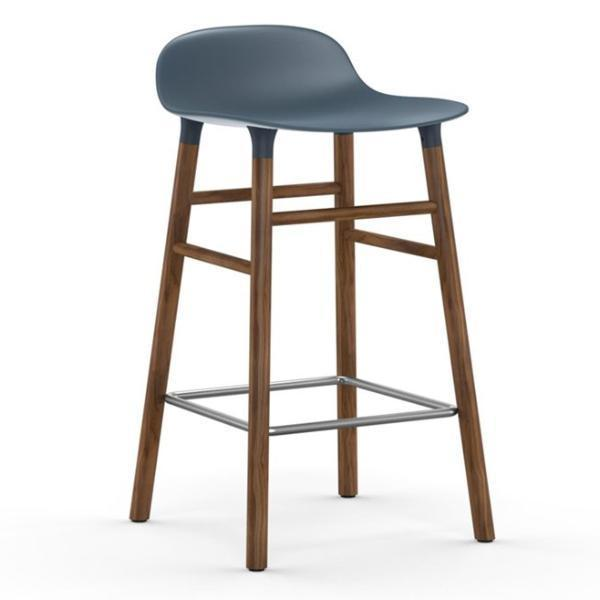 Normann Copenhagen Form Barstool  65cm / Walnut / Blue: www.decorelo.co.uk