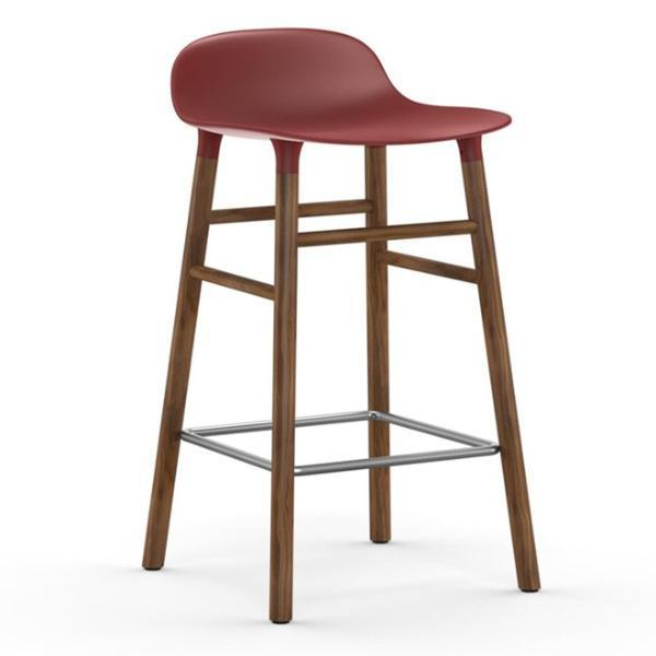 Normann Copenhagen Form Barstool  65cm / Walnut / Red: www.decorelo.co.uk