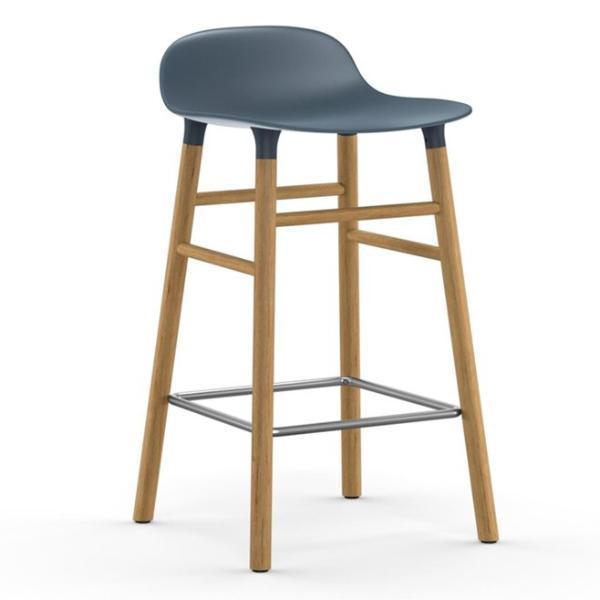 Normann Copenhagen Form Barstool  65cm / Oak / Blue: www.decorelo.co.uk