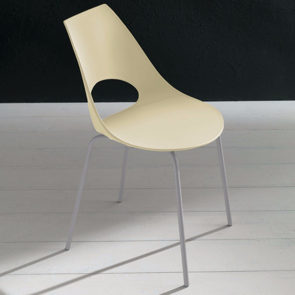Bontempi Casa Shark Kitchen Dining Room Chair  Ivory / Aluminium / Pole Legs: www.decorelo.co.uk