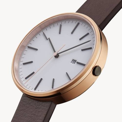 Gifts,Brands - Uniform Wares M40 Calendar Rose Gold & Brown Nappa Leather Strap