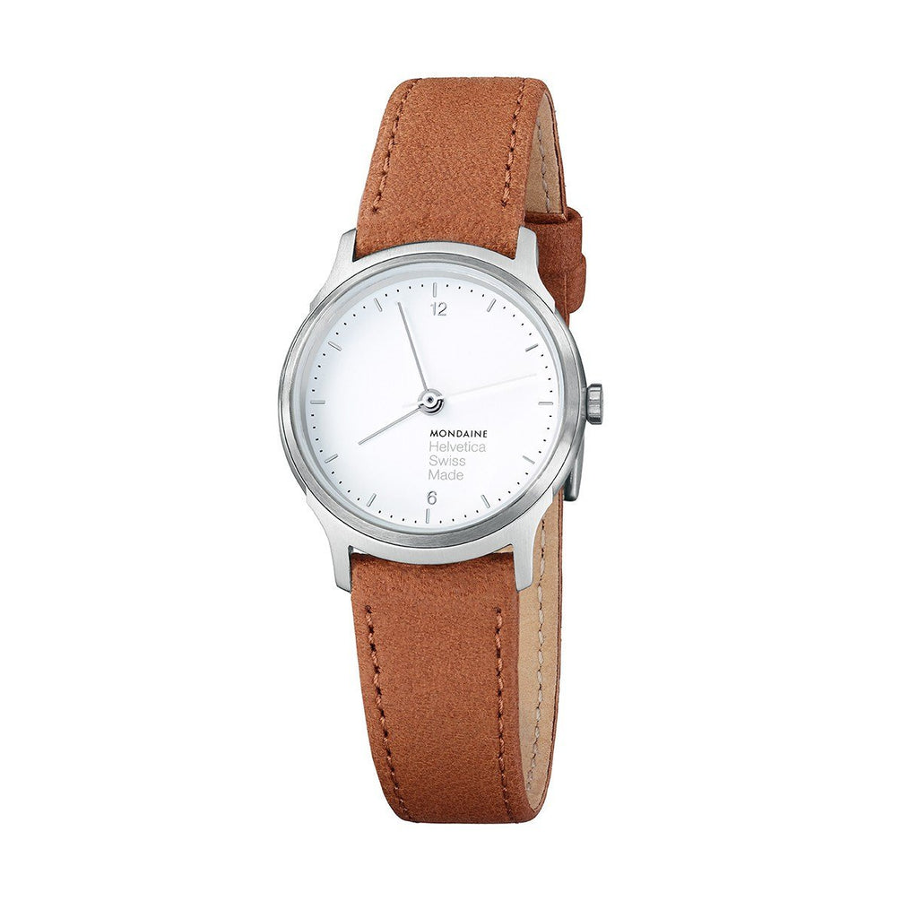 Gifts,Sale,Brands - Mondaine Helvetica White Dial Brown Leather Strap