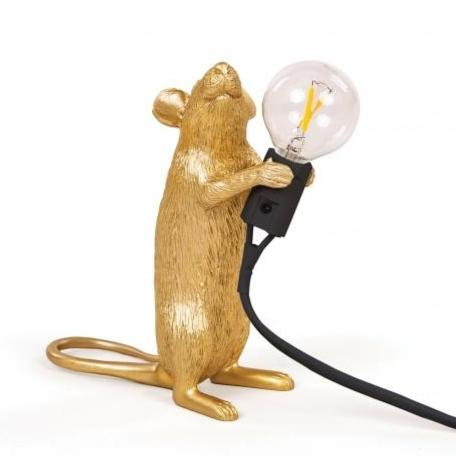 Seletti Gold Mouse Standing Table Lamp
