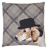 Home Accessories - Embroidered Dog Tartan Check Cushion
