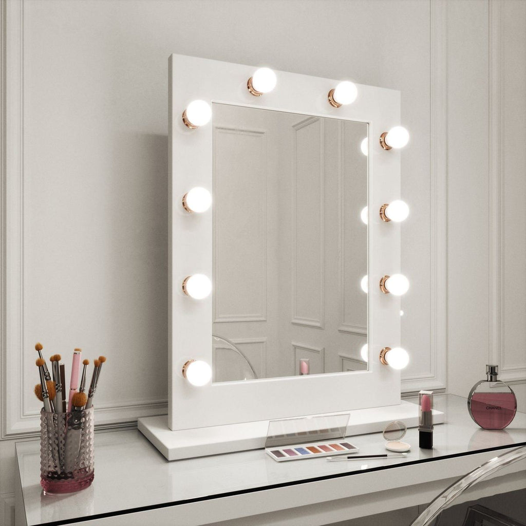 Jennifer Hollywood Mirror in White Gloss & Rose Gold Portrait 80 x 60cm