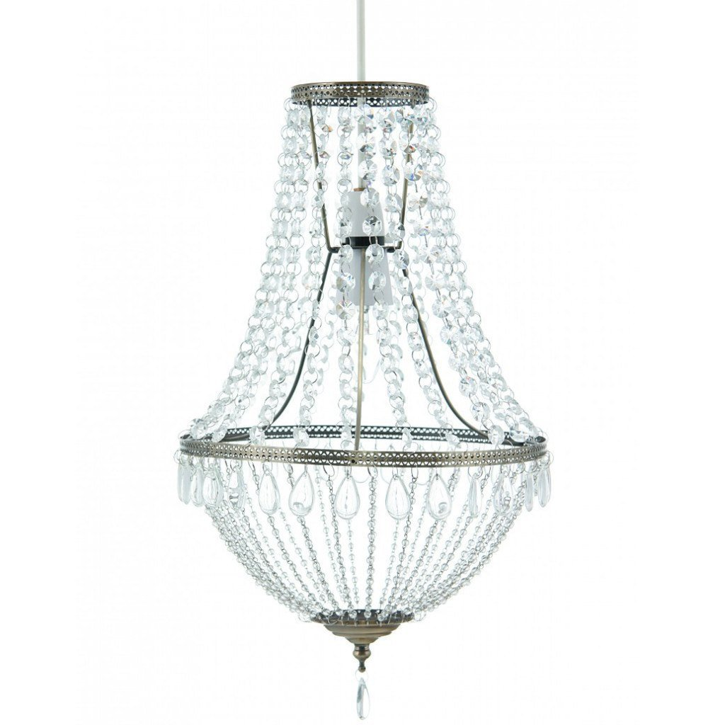 Lighting,Brands - Aimbry Clear Glass Beaded Chandelier Ceiling Light