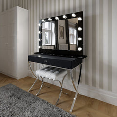 Hollywood Mirror in Black Gloss Landscape 80 x 110cm  : www.decorelo.co.uk