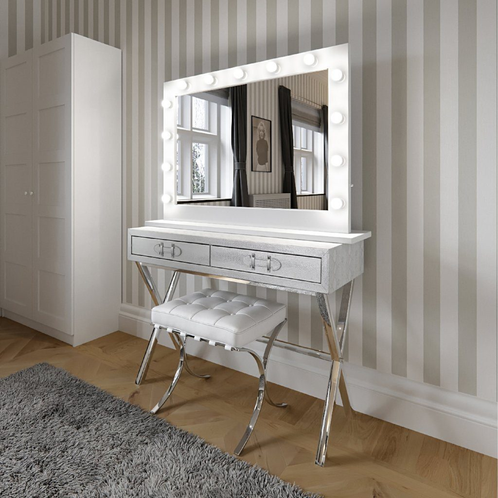 Audrey Hollywood Mirror In White Gloss Landscape 80 X 110cm Www Decorelo Co Uk