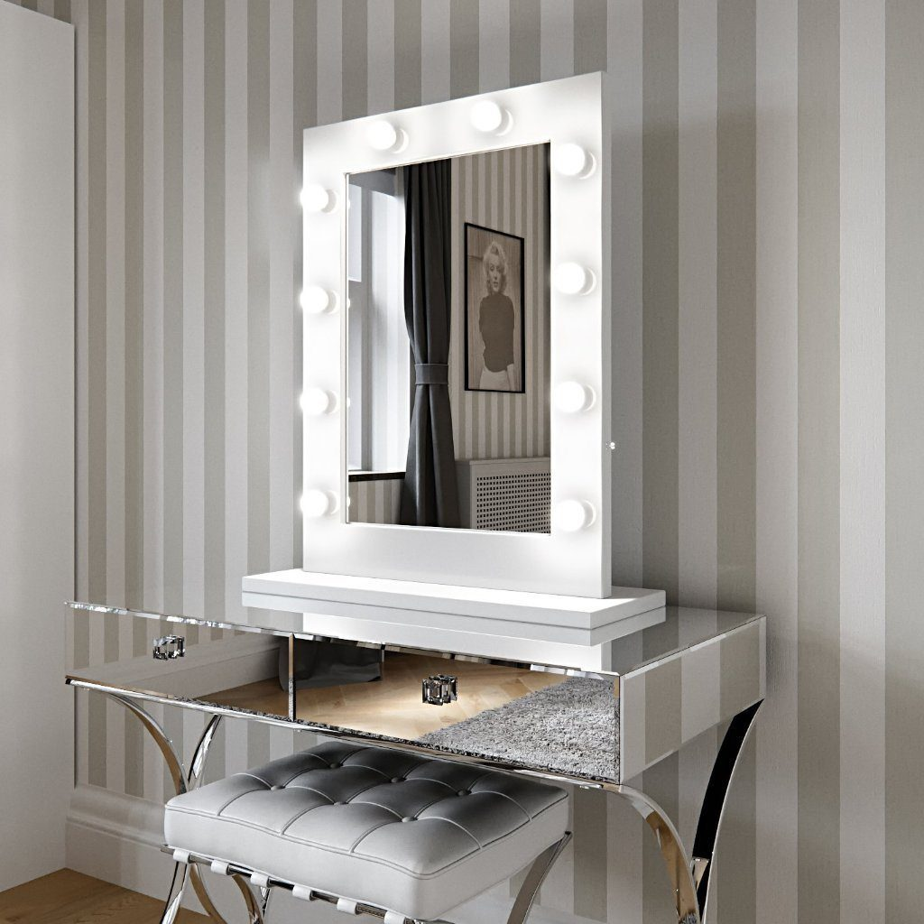 Hollywood Mirror in White Gloss Portrait 80 x 60cm  : www.decorelo.co.uk