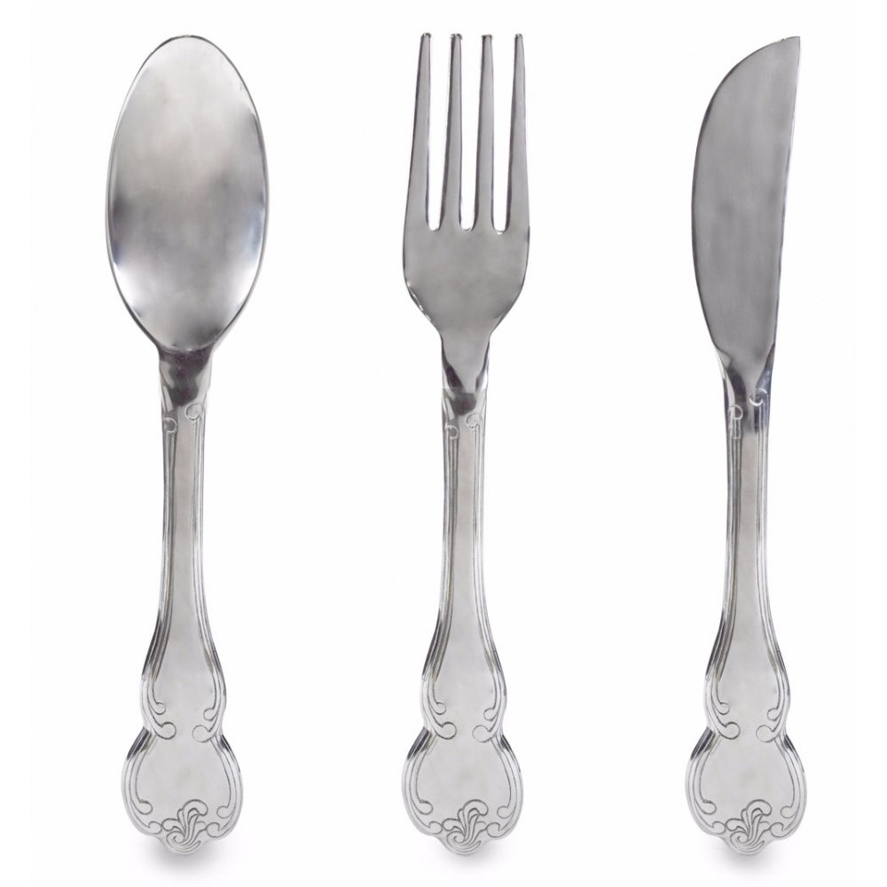 Polished Aluminium Knife fork & Spoon Wall Hangings