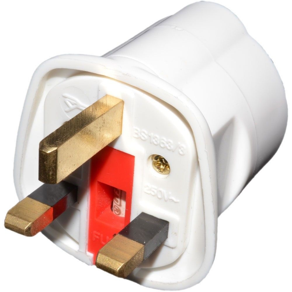 Schuko Socket EU European 2Pin to UK 3Pin AC Mains Travel Adaptor