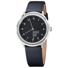 Mondaine Watch Helvetica Dial Black Leather Strap