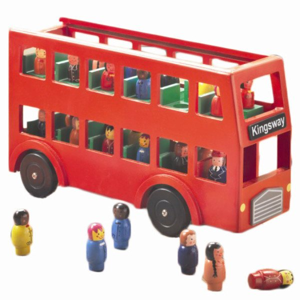 Sale,Gifts - Wooden London Bus Toy With 22 Passengers