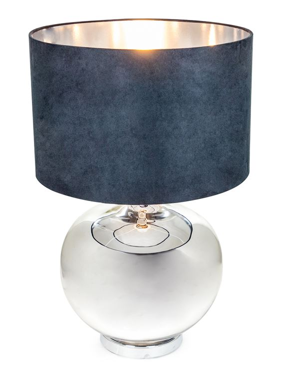 Large Silvered Round Lamp with Black Velvet Shade