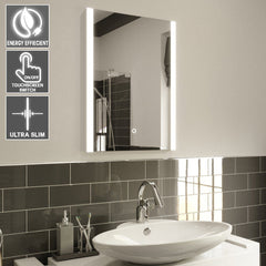 500x700mm Denver Illuminated LED Bathroom Mirror - Switch Control